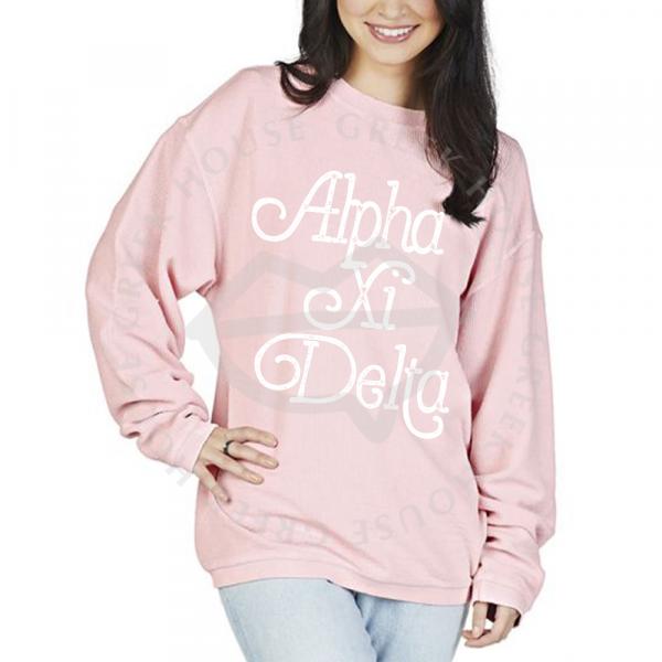 Corded Camden Crew Neck Sweatshirt Millenial Pink 1